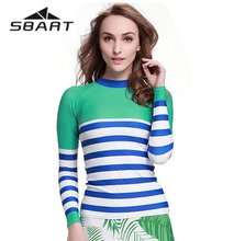 SBART Womens Tops UV stripe printing clothing long sleeve surf clothing swimsuit Quick Dry Bathing Surfing Suits
