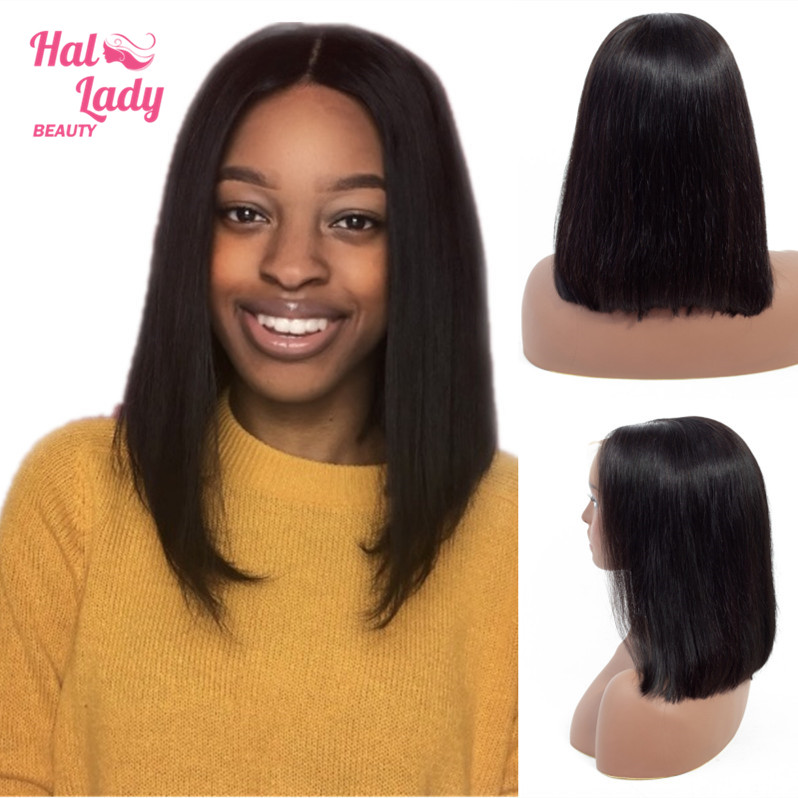 Halo Lady Short Bob Lace Front Human Hair Wigs Pre-plucked Deep Part Frontal Brazilian Straight Bob Wig For Women Blunt Cut Remy(China)