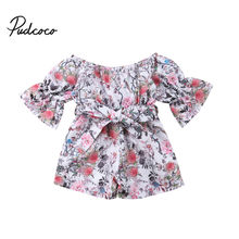 8bf51121c7 Boho Style Newborn Infant Baby Girls Floral Half Sashes Romper Jumpsuit  Children Girl Beach Holiday Spring Clothes Outfits 6M-5Y