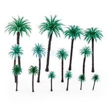 New 2014 Brand New 14pcs 1.9 inch - 6.6 inch Model Coconut Palm Trees Layout Train Scale 1/50 Free Shipping