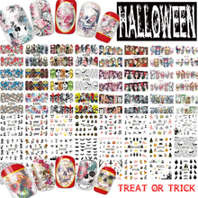 1sets 12 Designs Mixed Halloween Skull Bone Water Transfer Nail Art Stickers Manicure Decoration Nails Full Wraps Decals TR291(China)
