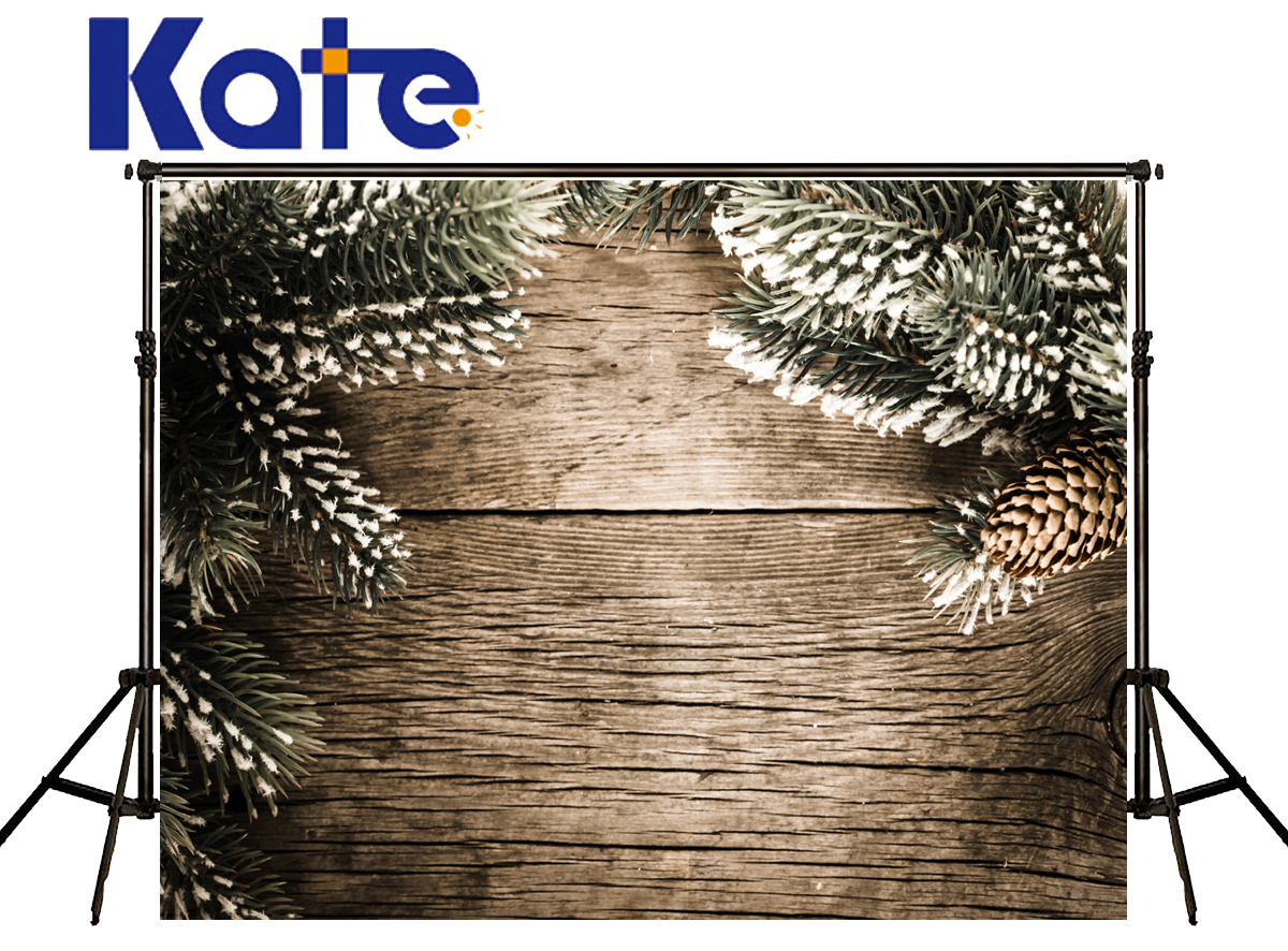 Kate Christmas Backdrops Photography Pineal Leaf Snow Fondo Fotografico De Estudio Dark Wood Texture Floor Studio Backgrounds<br>
