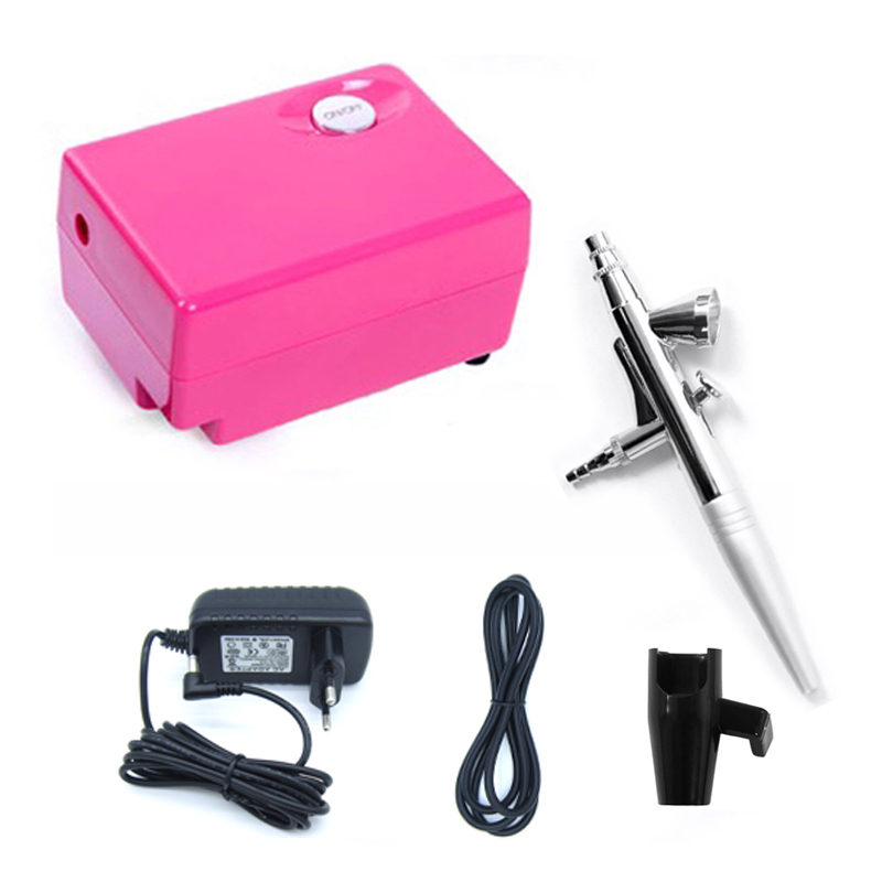 AirBrush Compressor 12v Air brush Gun 0.4mm Needle Tattoo Art, Mini Single Action Airbrush kit With Compressor US/Euro Plug<br>