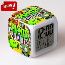 Plants VS Zombies Alarm Clock Led Light 7 Color Change Cool Gadgets Saat Square Table Projection Clock Plastic Digital(China)