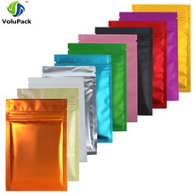 "8.5x13cm (3.25x5"") 100x Matte Blue Red Gold Green Purple Pink Silver Black Translucent Foil Mylar Zip Lock Storage Package Bags"