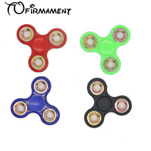 New creative high quality four color plastic material combining finger hand spinner metal circle EDC kids high speed toy