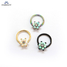 Opal Flower Gem Helix Piercing Ear Cartilage Surgical Steel Septum Clickers Nose Ring Nipple Lip Tragus Daith Migraine Piercing(China)