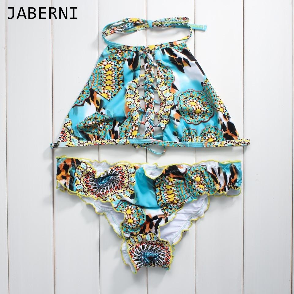 JABERNI 2017 bikini sexy swimsuit women high neck bikini set halter swimwear summer low waist bathing suits swim wear RS007<br><br>Aliexpress
