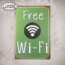 Wifi gratuito Vintage de Metal de Estaño Signos Decor Bar Pub Shop Pared Taberna Negocio Decoración J149