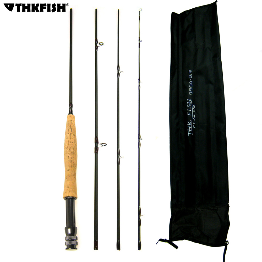 THKFISH 9ft 2.7M Fly Fishing Rod 4 Section #5~#6 Graphite Fly Fishing Rod 4-Piece Lightweight Portable Carbon Fiber Fishing Pole<br>