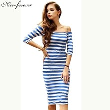 Nice-forever Sexy Slash Design Casual dress women off shoulder Striped knee-length Club wear Bodycon Slimming Sheath Dresses 703