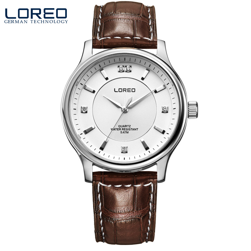 LOREO Germany watches men luxury brand quartz watch water resistant 5ATM brown Leather belt fashion business Diamonds<br><br>Aliexpress