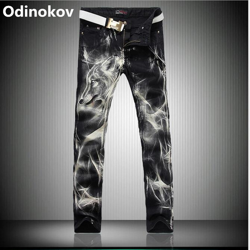 Odinokov Brand 2017  Men`s Printed Jeans Wolf Style Gothic Painted Cotton Straight Leg Cool Jeans For Young MenÎäåæäà è àêñåññóàðû<br><br>