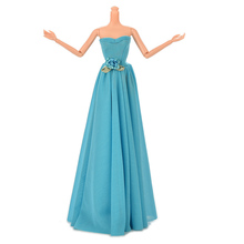 Blue Party Doll Dress Flowers Clothes Gown For Barbie evening wedding dress party dress
