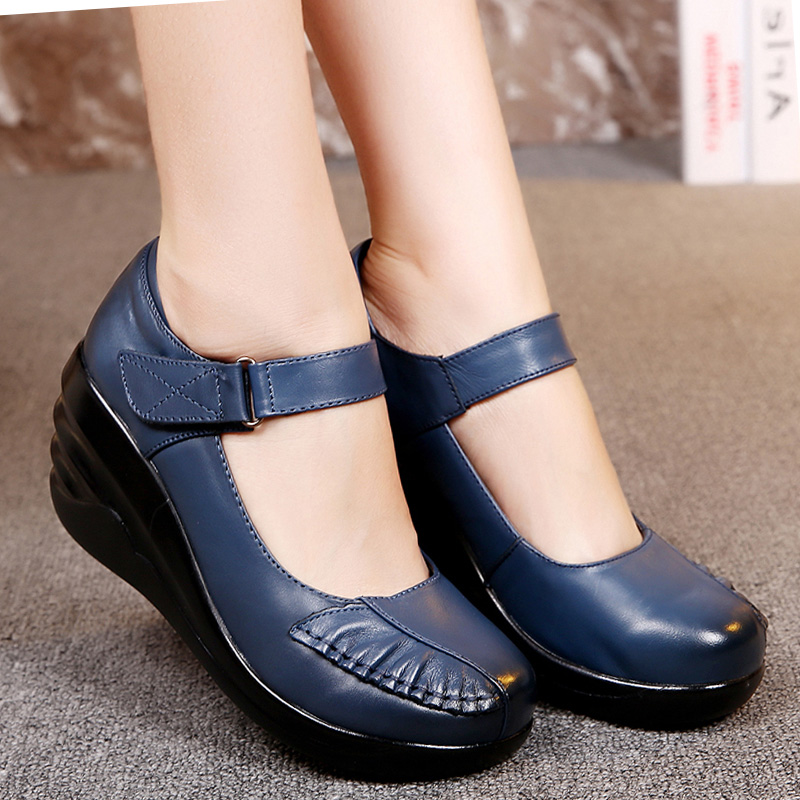 Hot sale Female Genuine Leather Shoes Woman Platform Casual Shoes Lady Genuine Leather Wedges womens Mother<br><br>Aliexpress