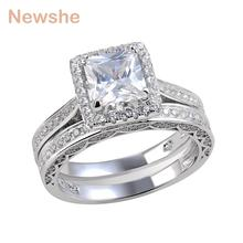 Newshe Princess Cut CZ Wedding Ring Set Solid 925 Sterling Silver Engagement Band Fashionable Jewelry For Women Size 5 to 12(China)