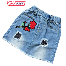 Baby Girls Casual Denim Skirts Girl Mini Cute Rose Embroidery Skirt Kids All-match Jean Skirts Summer Toddler Girls Clothing(China)