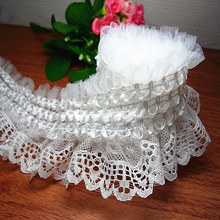 8CM White Elastic Lace Trim DIY  Lace Stretch Ribbon For Wedding Dress Sewing Accessories 3Meters/lot 5-088