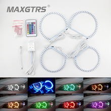 2x146mm+2x131mm 5050 42SMD RGB LED Angel Eyes Light Headlight with Halo Ring Remote Control Kit for BMW E46