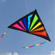 Hot Sale NEW Outdoor Fun  Rainbow Triangle  Sport   Kite  /Kids Kites  With Handle Line High Quality Good Flying