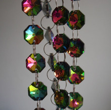 5meters/lot Rainbow colors crystal bead strand shinning chandelier lamp octagon chain for wedding /X-mas tree/room decor