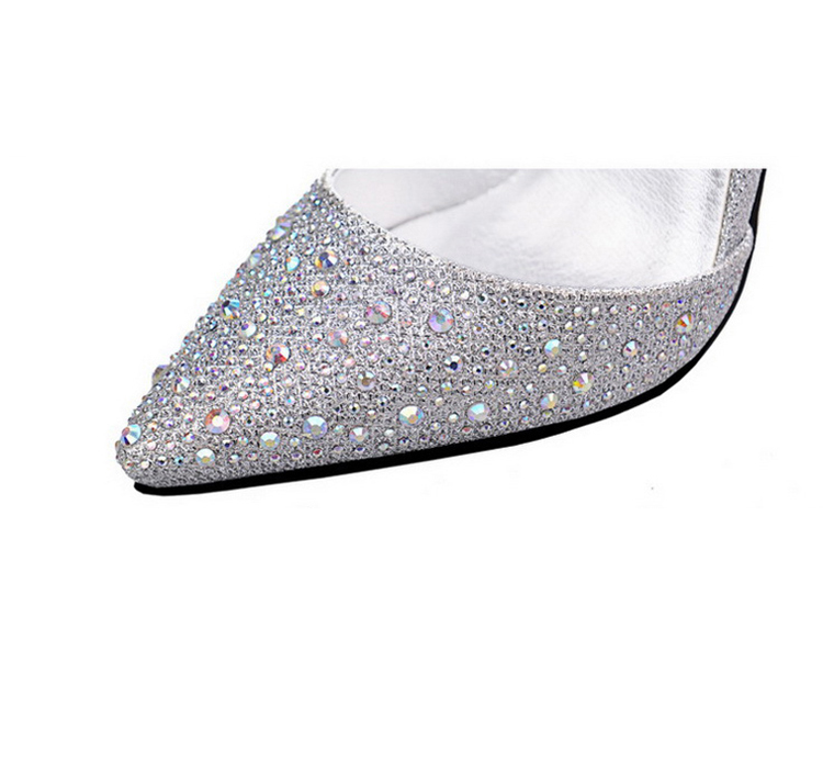 Women Pumps Sexy High Heels Shoes Woman Silver Rhinestone Wedding Shoes High Heels Party Shoes Summer Hight Heels Sandals 14