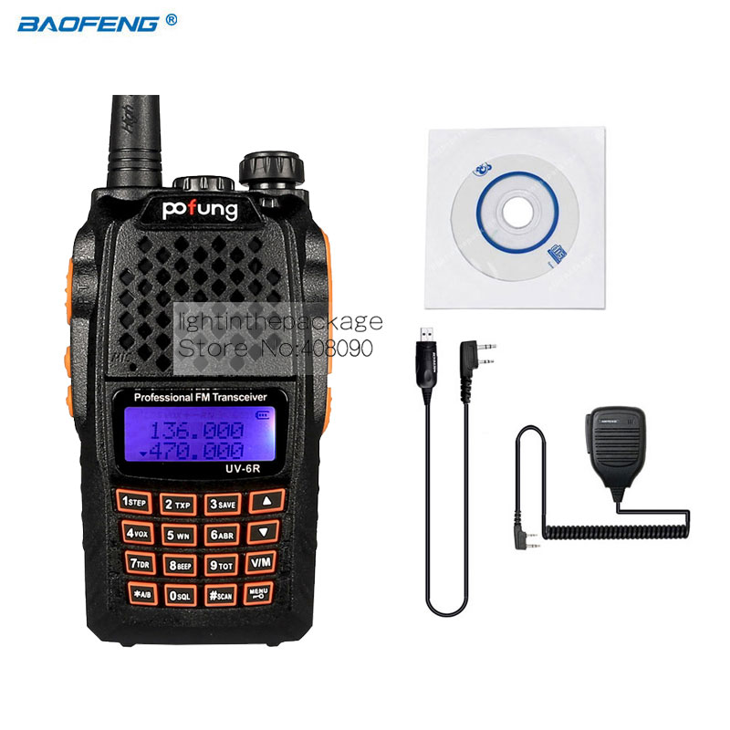 Baofeng Pofeng UV-6R Walkie talkie Radio Yaesu Transceiver Two-way Radio Walkie Talkie+USB Programming Cable+Remote Speaker(China (Mainland))