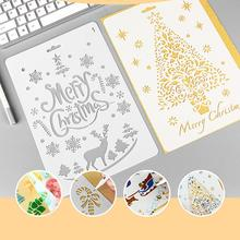 New Christmas Plastic DIY Craft stamp painting flower template scrapbooking embossing Hollow stencils Album Cards Decoration(China)