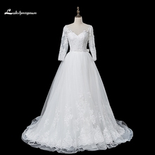 2018 Pearl A Line Wedding Dresses Long Sleeves Ivory Cristal Beading Court Train wedding Gowns Custom Made robe de mariage(China)