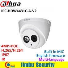Dahua 4MP IP Camera IPC-HDW4431C-A-V2 replace IPC-HDW4431C-A POE multiple language IR50M H.265 Built-in-MIC IP67 cctv camera