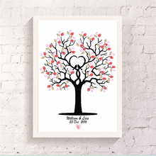 Fingerprint Heart-shaped Tree Signature Canvas Painting Romantic Wedding DIY Customized Guest Art Drawing Book Bedroom Ornaments