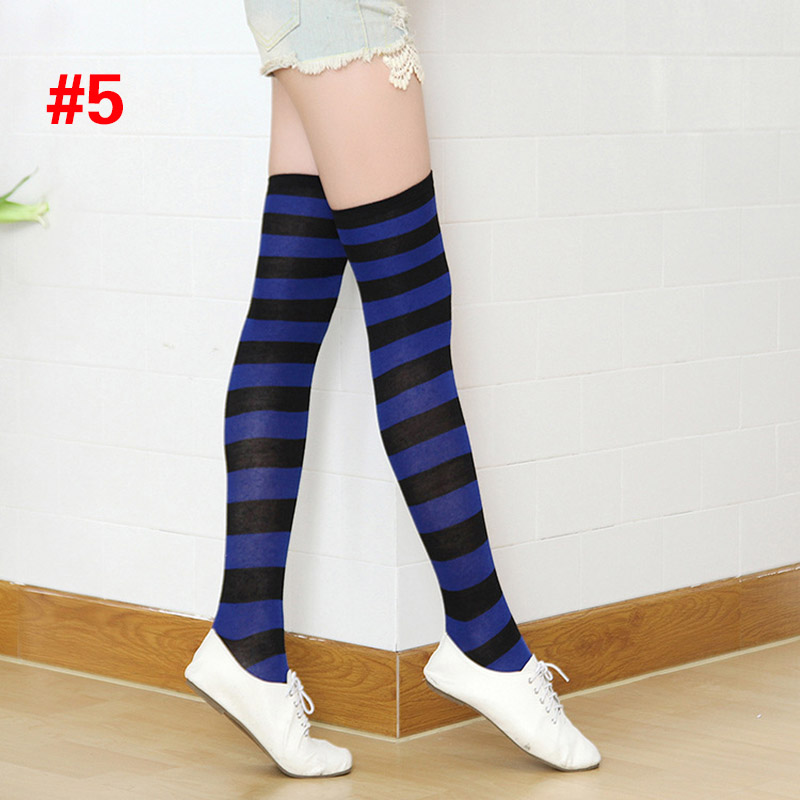Polyester Fashion Stripe Beauty Tights, Stockings, Multicolor Knee-high Women Sweet Cute Girls Stockings 12