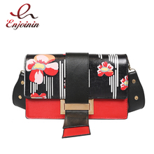 New style fashion trend printing pu leather red & green female shoulder bag handbag ladies crossbody messenger bag Purse