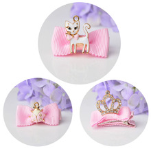 1 piece Cat Girls Hairpins Baby Children Hair Holder Pink hair accessories with crystal(China)