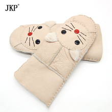 2017 New Winter Female Warm Genuine Sheepskin Leather Fur Gloves Cute Cat Glove Mittens Wool Lining(China)