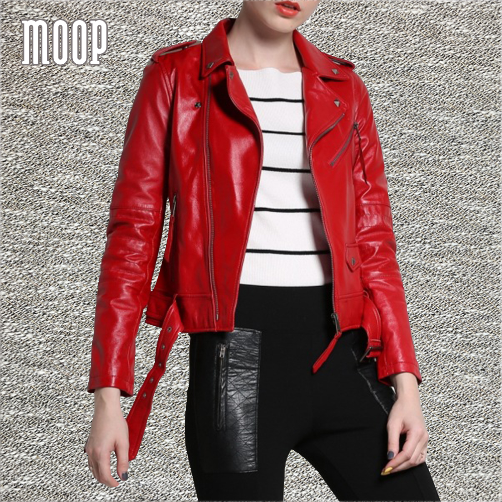 Red genuine leather jackets women lambskin motorcycle jacket coat with belt chaqueta mujer jaqueta de couro blouson moto LT175(China (Mainland))