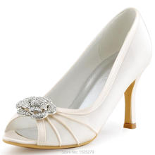 Women Shoes EP2094AF Ivory White Beige Bride Party Pumps Peep Toe High Heel Satin Rhinestones Flower Bridal Wedding Shoes(China)