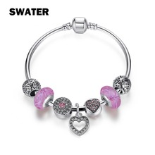 SWATER Fashion Charm Bracelets & Bangles Silver Plated Pendant DIY Crystal Beads Bracelets For Women Children Jewelry pulseras