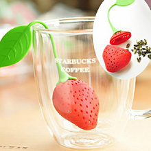 Novelty Silicone Strawberry Design Loose Tea Leaf Strainer Herbal Spice Infuser Filter (Red+Green)(China)
