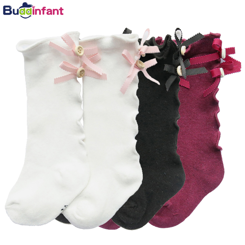 3 Pairs Baby Knee High Socks for Girls Boys Newborn Stockings Cotton Bow Toddler 2018