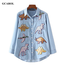GCAROL 2017 Women New Dinosaurs Sequins Patch Denim Shirt Appliques High Quality Bling Bling Blouse Tops For 4 Season(China)