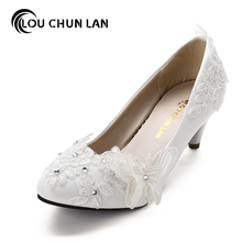 Shoes Women pumps White bandage pearl flower Bridal /Bridesmaid Shoes Women's Shoes Wedding Shoes Women Pumps Free Shipping(China)