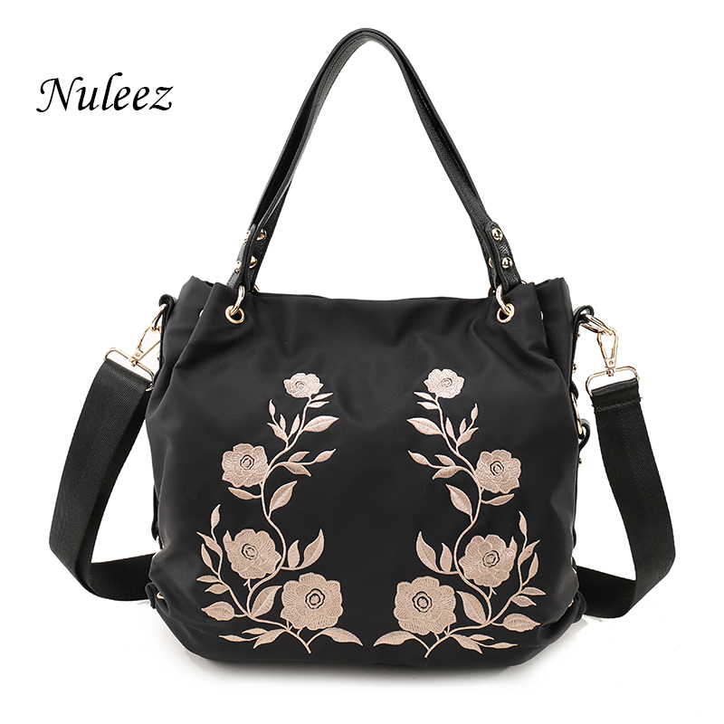 Nuleez Waterproof Embroidery Nylon Bag Black Casual Women Tote Bag Flower Handbags Leather Bag Cross Body Mummy Weekend Bag 2602<br>