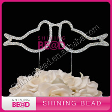 two doves clear rhinestone wedding cake topper,wedding cake decoration,crystal two doves rhinestone cake topper(China)