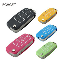 FGHGF 3Button Uncut Blade Remote Key Case Blade for VW Jetta Beetle Car Key Shell Fob Folding Flip Replacement  Car Cover + logo