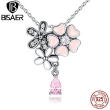 BISAER Classic 925 Sterling Silver Pink Heart Blossom Cherry Flower 45CM Pendants & Necklaces Women Fashion Jewelry ECN046
