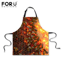 FORUDESIGNS Funny Men Chef Kitchen Apron 3D Honeybeen Print Tablier Cuisine Adulte Cooking Aprons Home Cleaning Tool Accessories