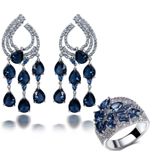 Large Deluxe Set Jewel High Quality Party Accessories Dark Blue montana Water drop stone Earrings with ring Women jewerly set