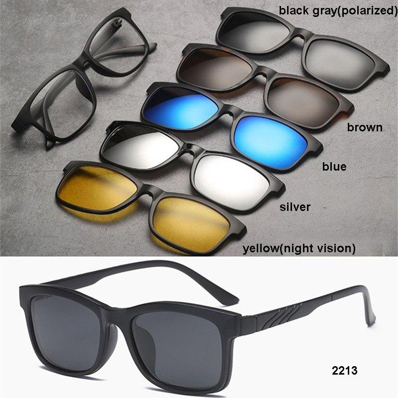 d1b4c4a489 1 black frame+1pcs polarized lens+3pcs UV400 lens+1pcs night vision lens  2213 2213a