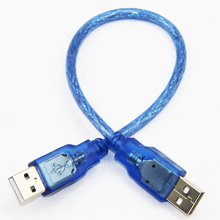 30cm USB 2.0 Type A Male to USB 2.0Type A Male Data Cable For HDD PC Dual Shielding(Foil+Braided) Transparent Blue(China)